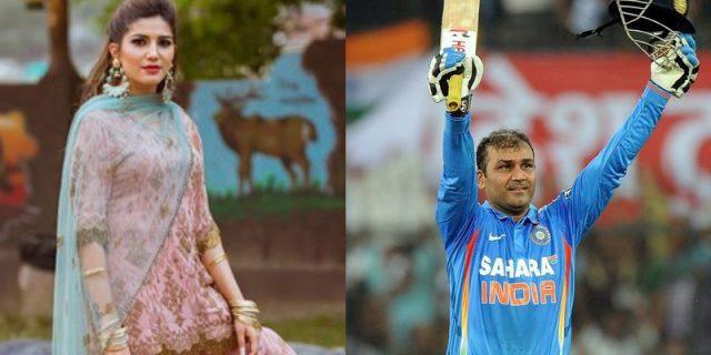 sapna Choudhary and Virender Sehwag