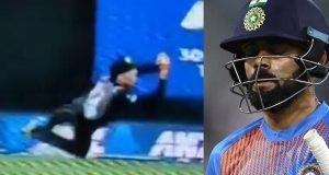 Mitchell Santner grabs flying catch to dismiss Virat Kohli