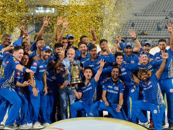 Mumbai Indians Players With IPL Trophy