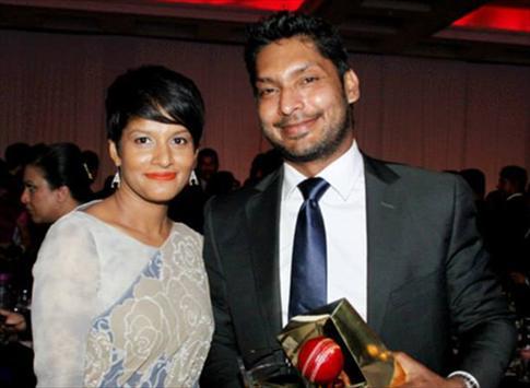 Sangakkara with his wife