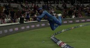 Airborne Sanju Samsons courageous effort saves four runs