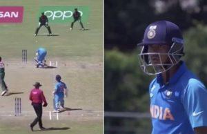India opener Divyaansh Saxena reacts furiously to Bangladesh pacer Tanzim Sakib's poor throw