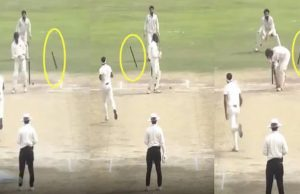 Siddharth Kaul send stumps for a walk during his hat-trick against Andhra Pradesh