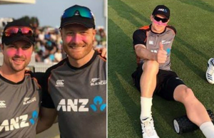 Why were New Zealand players sporting pink paint on their face vs India