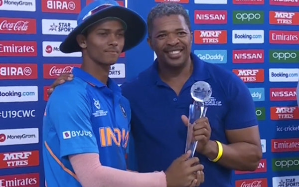 Yashasvi Jaiswal Man of the Tournament trophy ruptures into two pieces