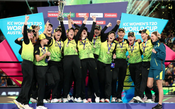Australia women's cricket team celebrating T20 World Cup win with Katy Perry