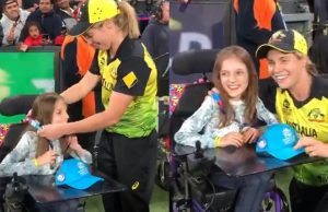 Sophie Molineux gives her gold medal to the differently-abled fan