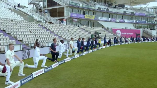 England and West Indies players take a knee ahead of the first