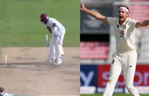 Stuart Broad castles Jermaine Blackwood with an unplayable delivery