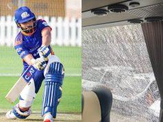 Rohit Sharma six breaks window of moving bus