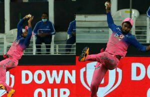 Sanju Samson's Stunning Catch vs KKR in IPL 2020 - FI