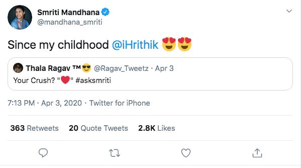 Smriti Mandhana discloses her crush