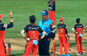 Virat Kohli arguing with the umpire for Kane Williamson run out