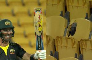 Glenn Maxwell scores 28 runs off Jimmy Neesham's over and breaks a chair