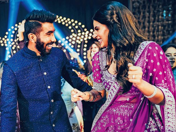 Jasprit Bumrah and Sanjana Ganesan dance together