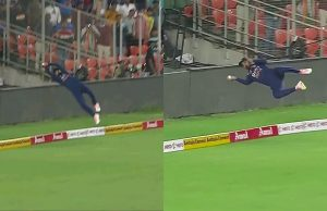 unbelievable fielding efforts from KL Rahul to save the six