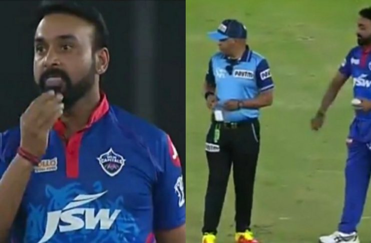 Amit Mishra Applies Saliva On The Ball Gets Warned By Umpire