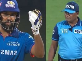 Rohit Sharma unhappy with umpire after being wrongly given out