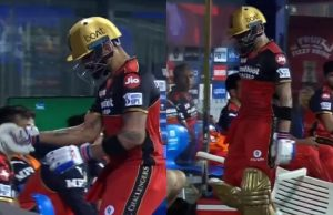 Virat Kohli knocks down a chair in frustration after getting out