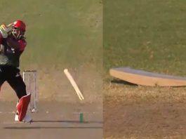 Odean Smith breaks Chris Gayle's bat