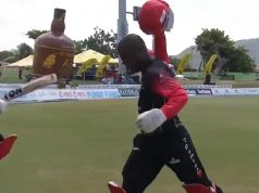 Sherfane Rutherford loses his cool after being dismissed for a run-out